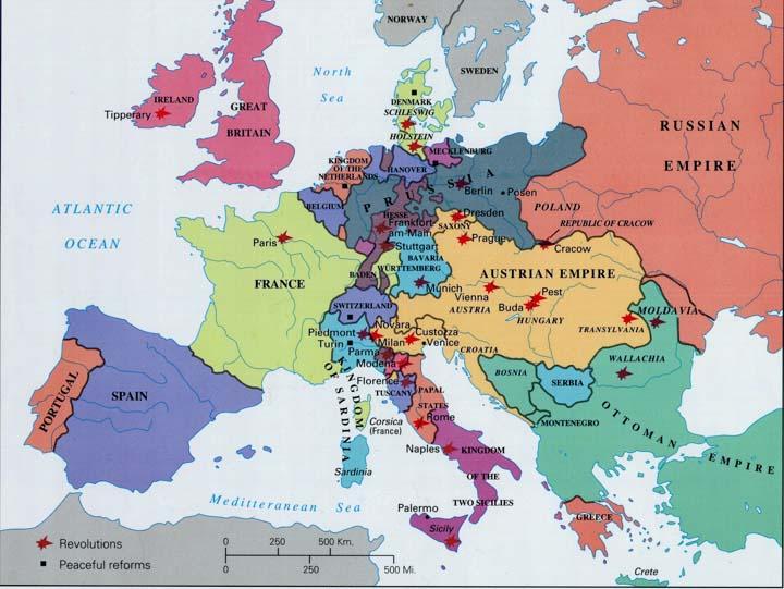 Európa 1848-ban - Forrás: edmaps.com