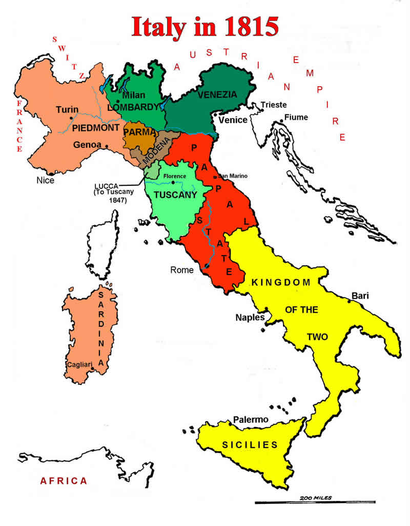 Italian unification cavour garibaldi unification italy essay map of italian states in 1815 gumiabroncs Gallery