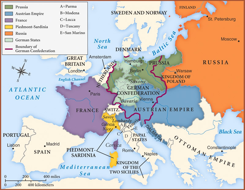 The European map before the revolutions of 1848
